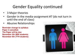 Gender Equality continued