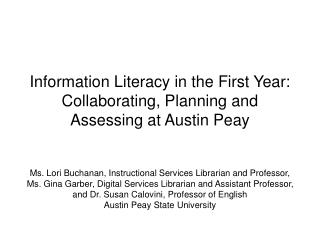 Integrating Freshman Level Information Literacy