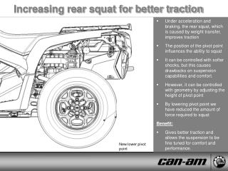 Increasing rear squat for better traction