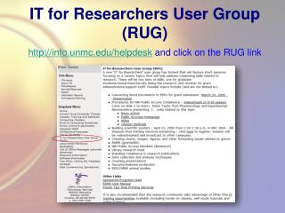 IT for Researchers User Group (RUG)