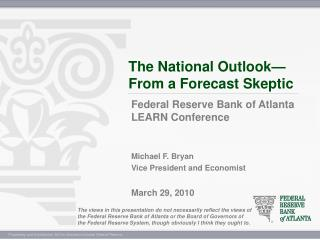 The National Outlook—From a Forecast Skeptic