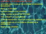 LECTURE 3 :SYSTEMS AND CYCLES