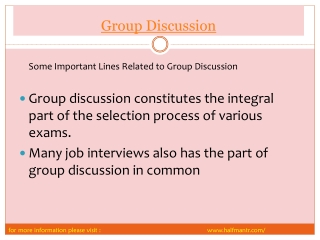 Latest points  in a Group Discussion