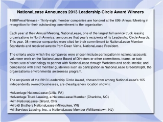 NationaLease Announces 2013 Leadership Circle Award Winners
