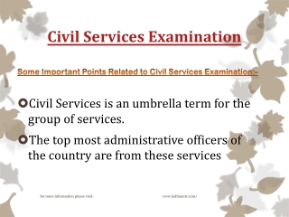 Some new points about civil services examination