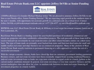 real estate private bank.com llc appoints jeffrey deville as