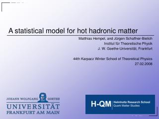 A statistical model for hot hadronic matter