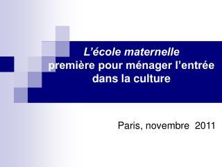 Paris, novembre  2011