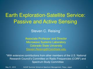 earth exploration-satellite service: passive and active sensingearth exploration-satellite service: