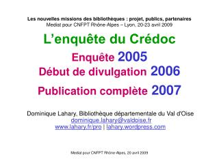 Mediat pour CNFPT Rhône-Alpes, 20 avril 2009