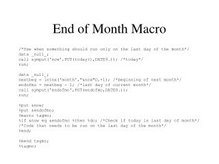End of Month Macro