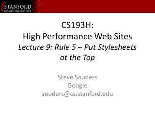 cs193h: high performance web sites lecture 9: rule 5 cs193h: