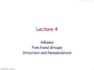 Chemistry 243 - Lecture 4