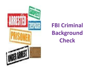 FBI Criminal Background Check