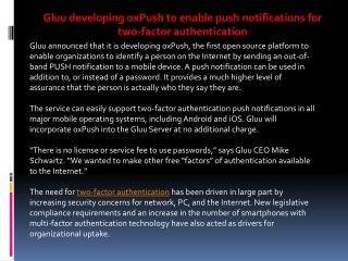 Gluu developing oxPush to enable push notifications for two-