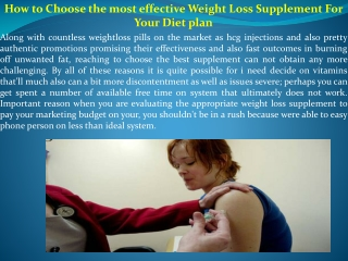 How to Choose the most effective Weight Loss Supplement For