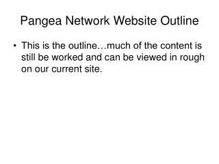 Pangea Network Website Outline