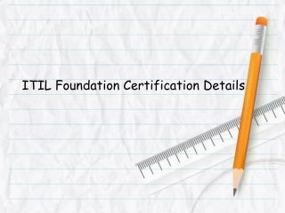 ITIL Foundation Certification Details