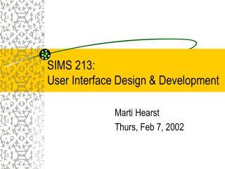 SIMS 213:  User Interface Design