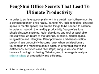 FengShui Office Secrets That Lead To Ultimate Productivity