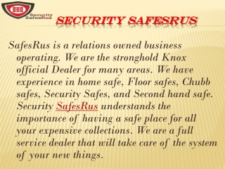 Know about Best securities offers at Security Safesrus