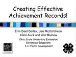 creating effective achievement records