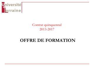 Contrat quinquennal  2013-2017