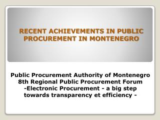 PUBLIC PROCUREMENT LAW OF MONTENEGRO