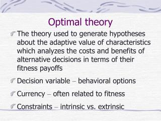 Optimal theory