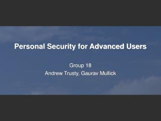 personal security for advanced users