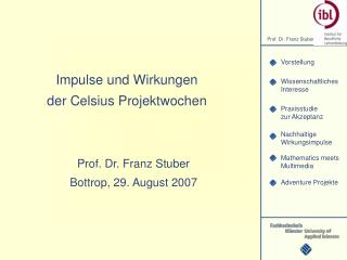 Impulse und Wirkungen der Celsius Projektwochen