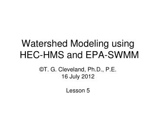 Watershed Modeling using