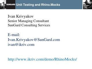Unit Testing and Rhino.Mocks