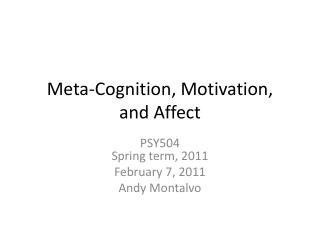 Meta-Cognition, Motivation, 