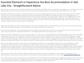 Essential Elements In Experience the Best Accommodation in