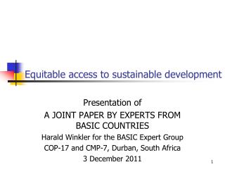 Equitable access to sustainable development