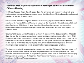 NationaLease Explores Economic Challenges at the 2013