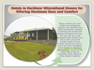 Hotels in Haridwar Uttarakhand Known for Offering Maximum Ea