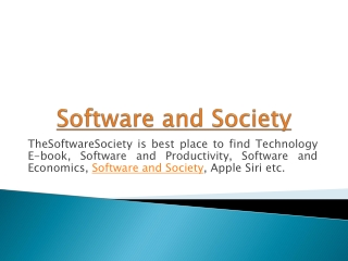 Technology and Society Book at thesoftwaresociety
