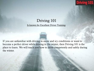 Learn Driving in Snow at Driving 101