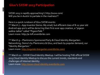 Gluu's SXSW 2013 Participation