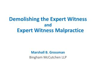 Demolishing the Expert Witness
