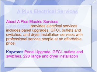 A plus electric services - GFCi, outlets and switches