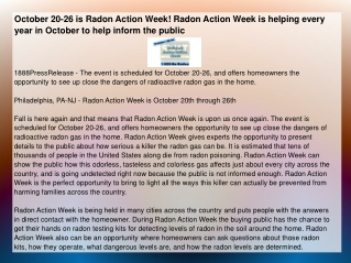 October 20-26 is Radon Action Week! Radon Action Week