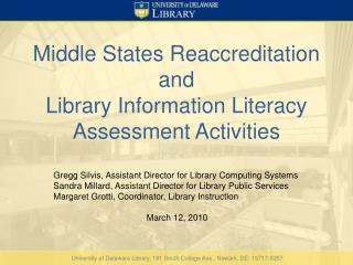 Library Instruction at the University of Delaware