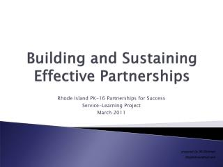 Building and Sustaining Effective Partnerships