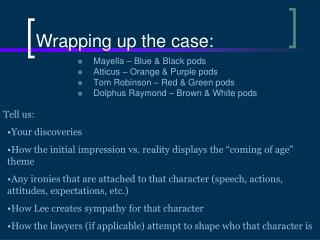 Wrapping up the case: