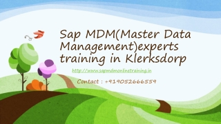 Sap mdm(master data management)experts online training in kl