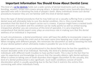 Important Information You Should Know About Dentist Cerec