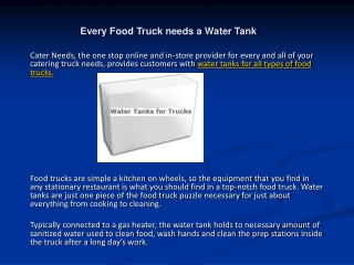 Every Food Truck needs a Water Tank